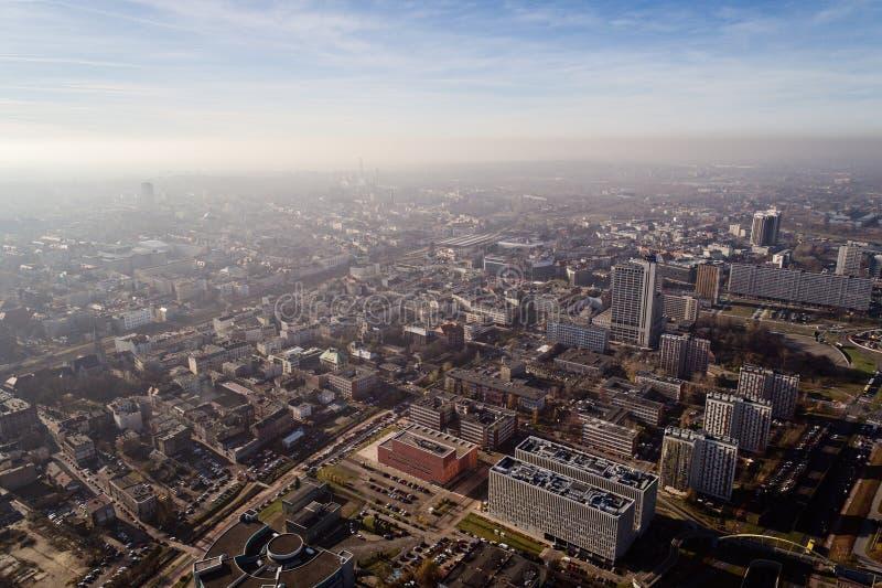 Смог и загрязнение воздуха в Катовице стоковое изображение rf