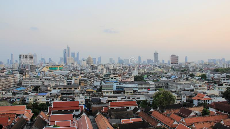 Метрополия Бангкока Смог покрыл Бангкок стоковая фотография