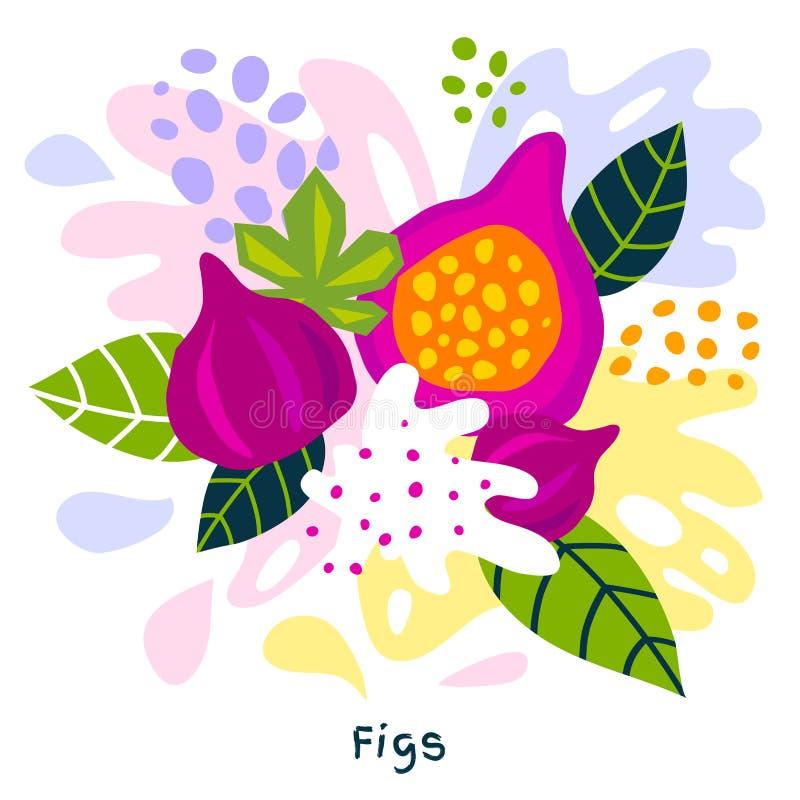 Смоквы натуральных продуктов выплеска фруктового сока свежей смоквы тропические зрелые сочные splatter на абстрактной предпосылке бесплатная иллюстрация