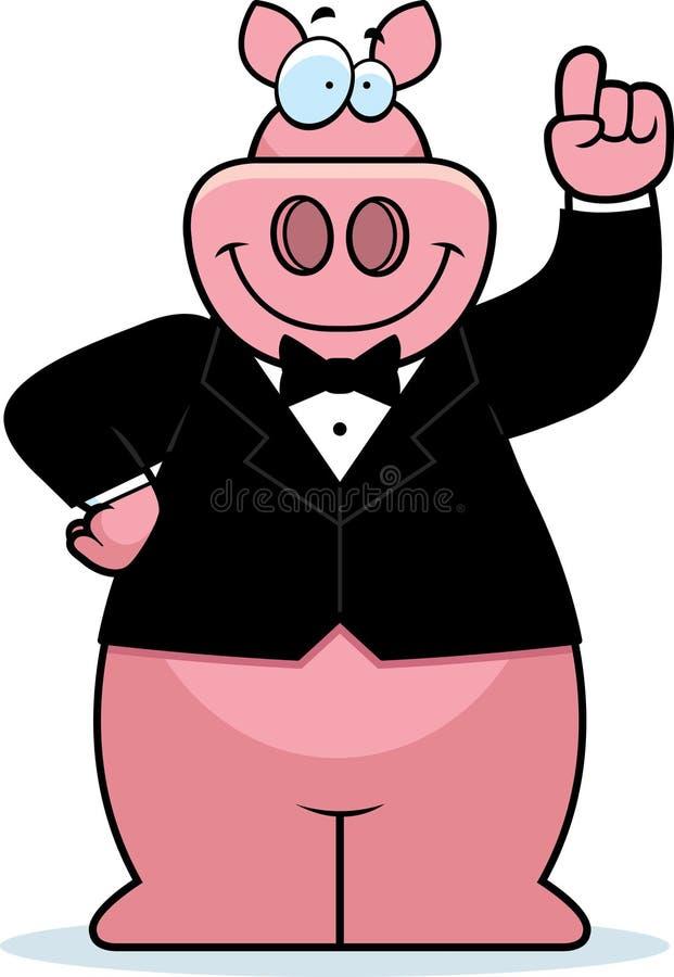 Смокинг свиньи шаржа иллюстрация штока