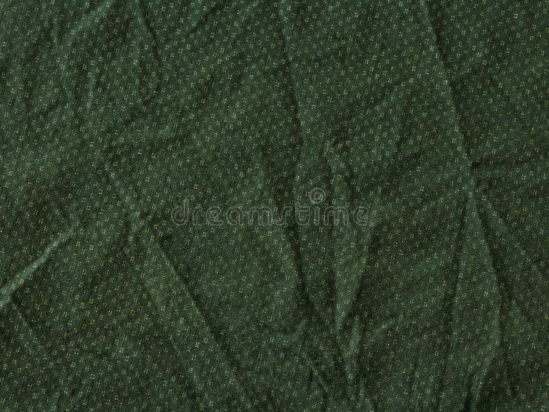 Сморщенная зеленым цветом предпосылка текстуры ткани стоковое изображение rf