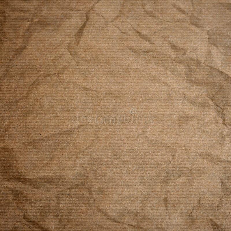 Сморщенные текстура или предпосылка бумаги kraft стоковое изображение rf