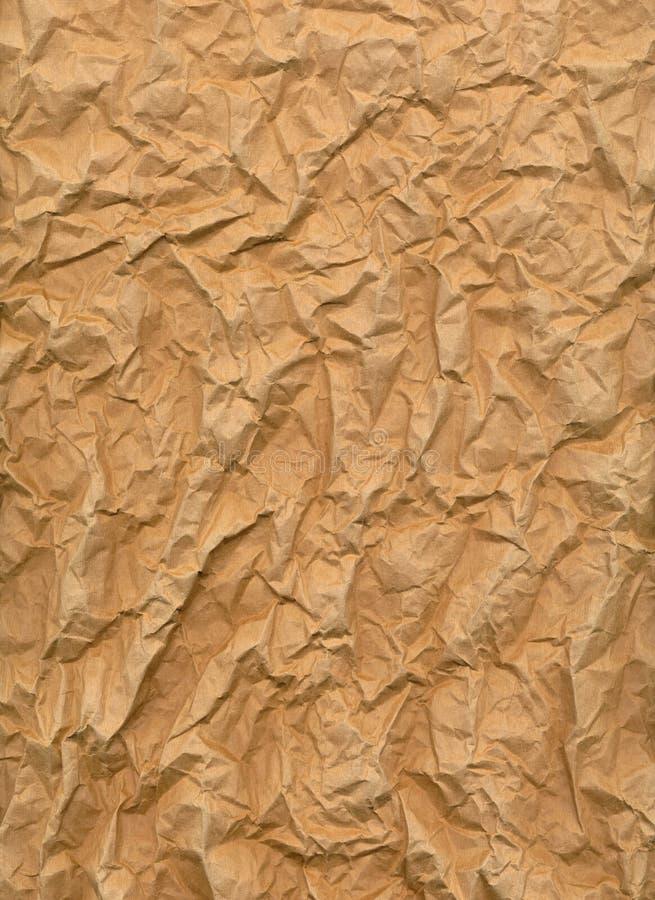 сморщенный лист коричневой бумаги стоковое изображение rf
