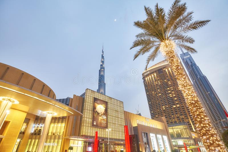Смотреть вверх взгляд загоренного фасада пальм, мола Дубай и Burj Khalifa на сумраке стоковая фотография rf