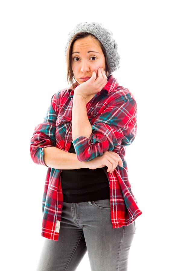 Download смотреть унылых детенышей женщины Стоковое Фото - изображение насчитывающей джинсыы, съемка: 41650554
