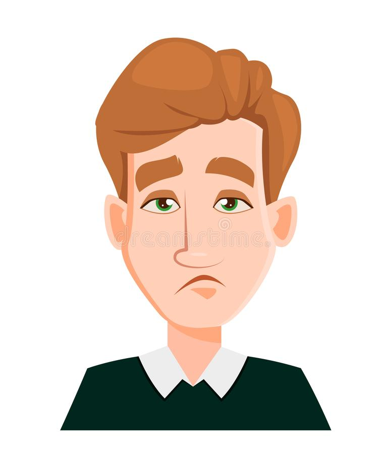 Смотрите на выражение человека с светлыми волосами - утомленными иллюстрация вектора