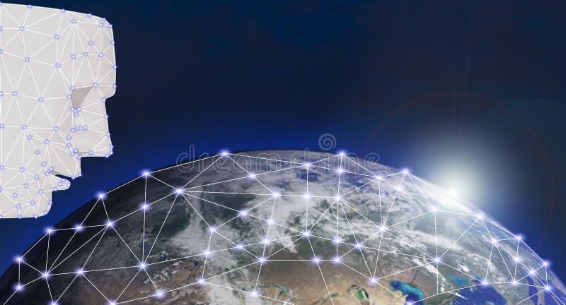 Смотрите на технологию систем машинного обучения развертки точные биометрические и концепцию искусственного интеллекта элементов  стоковые фото