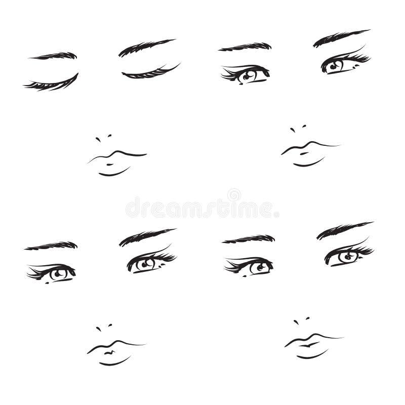 смотрит на девушку иллюстрация вектора