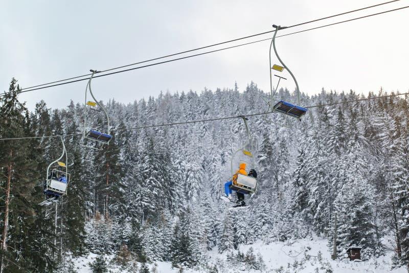 Смотрящ вверх на лыжниках сидя на простом подвесном подъемнике, снег покрыл деревья и небо overcast в предпосылке стоковая фотография