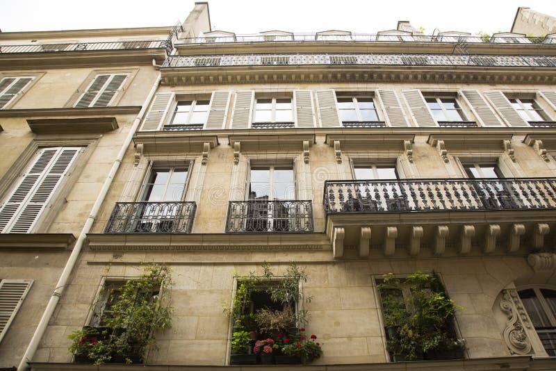 Смотрящ вверх на различном парижском Windows, Balconets, и балконе стоковые фотографии rf