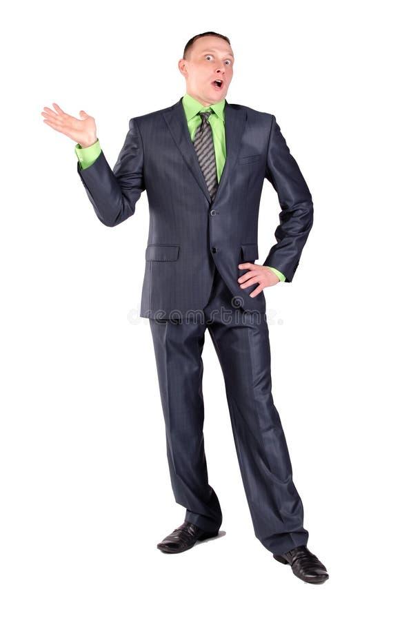 Смущенный изолированный бизнесмен стоковое фото rf