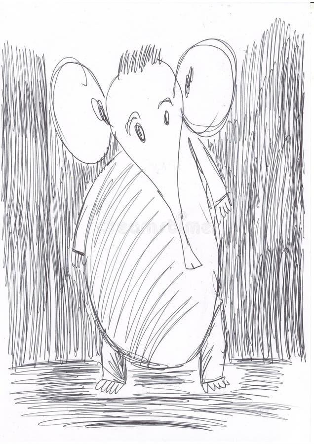 Смущенный маленький слон стоковые фотографии rf