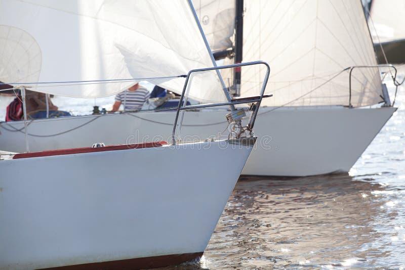 Смычки яхты на регате стоковые изображения rf