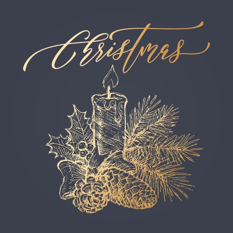 Смычок венка свечи рождества яркого блеска золота для поздравительной открытки иллюстрация вектора