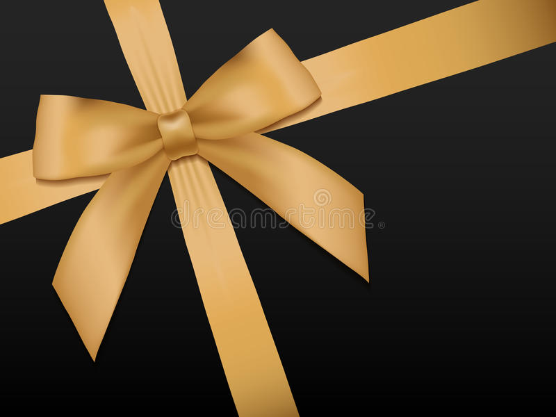 Смычок золота с лентами Сияющая лента сатинировки золота праздника на черноте иллюстрация вектора