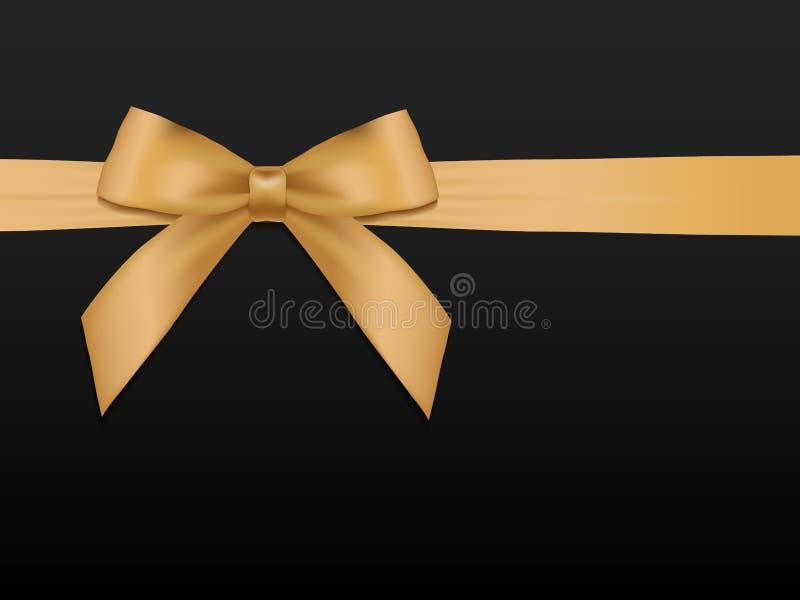Смычок золота с лентами Шаблон карточки подарка иллюстрация вектора