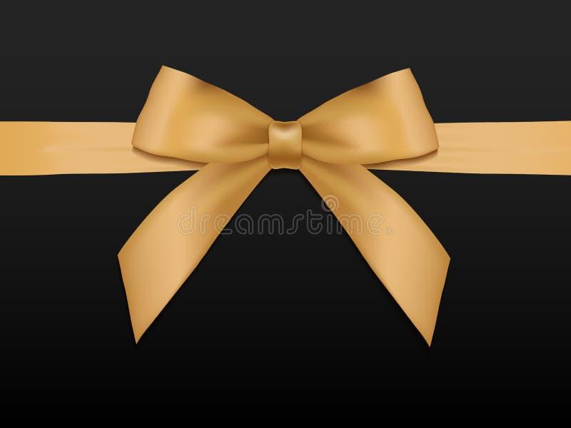 Смычок золота с лентами Шаблон карточки подарка иллюстрация штока