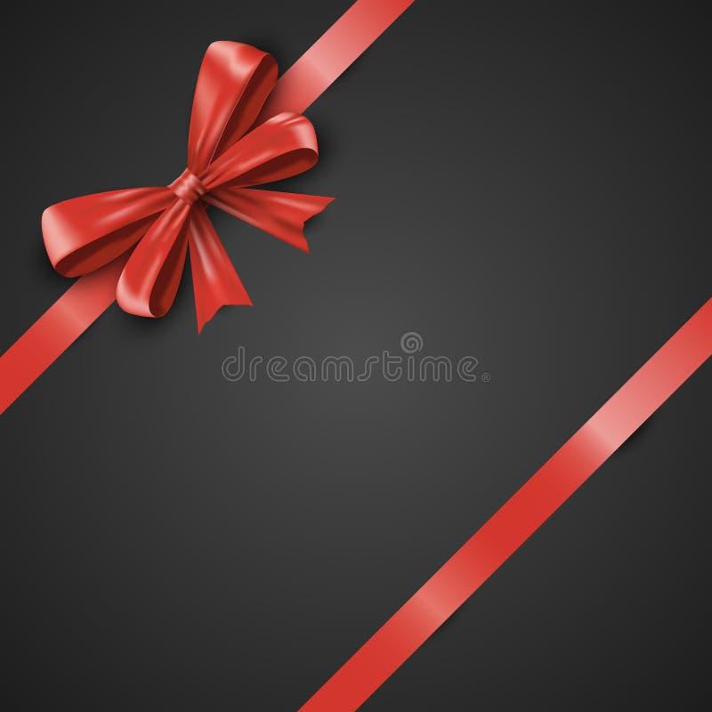 Смычок и ленты подарка реалистические красные опрокинули на черной предпосылке Красивая иллюстрация EPS 10 вектора иллюстрация вектора