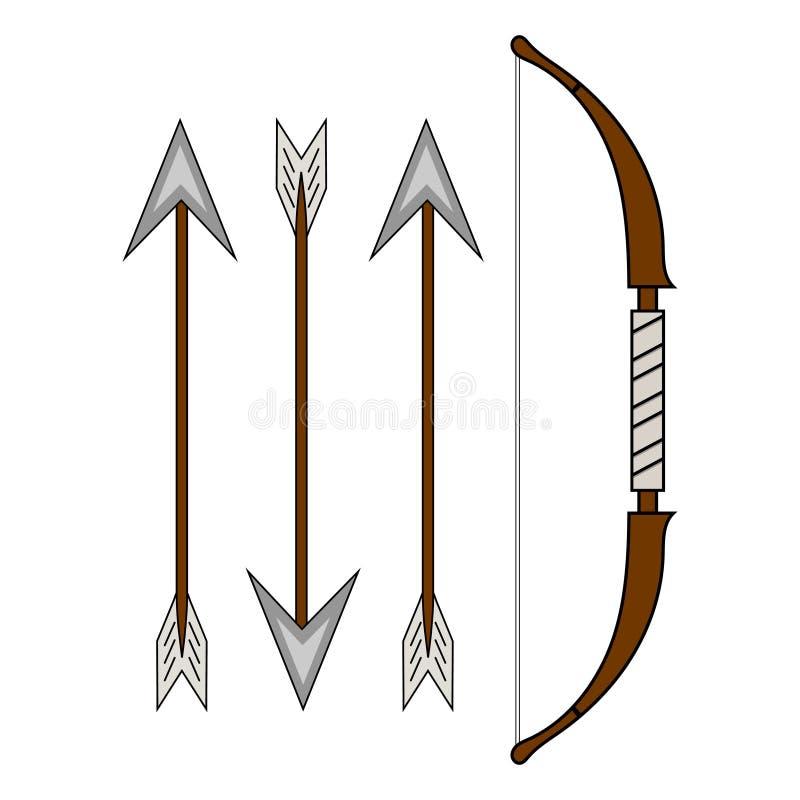 Смычок мультфильма классический деревянный изолированный на белой предпосылке Средневековый смычок со стрелками для дизайна компю бесплатная иллюстрация