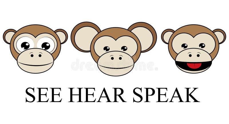 СМ. СЛЫШАТЬ НЕ ПОГОВОРИТЕ никакой злой обратный графический вектор 3 мудрых обезьян иллюстрация штока