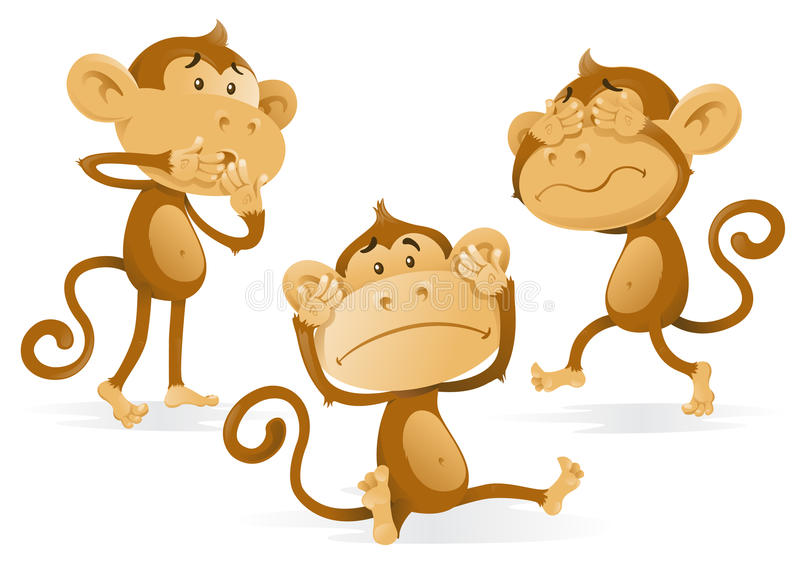 См. для того чтобы услышать для того чтобы не поговорить никаких обезьян зла бесплатная иллюстрация
