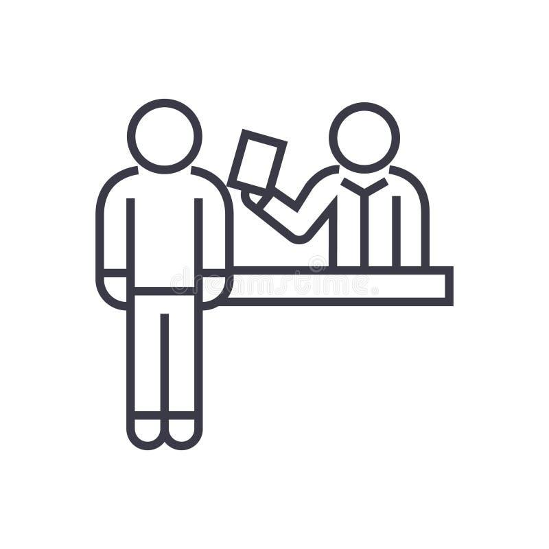 Снабдите значок билетами офиса резервирования линейный, знак, символ, вектор на изолированной предпосылке бесплатная иллюстрация