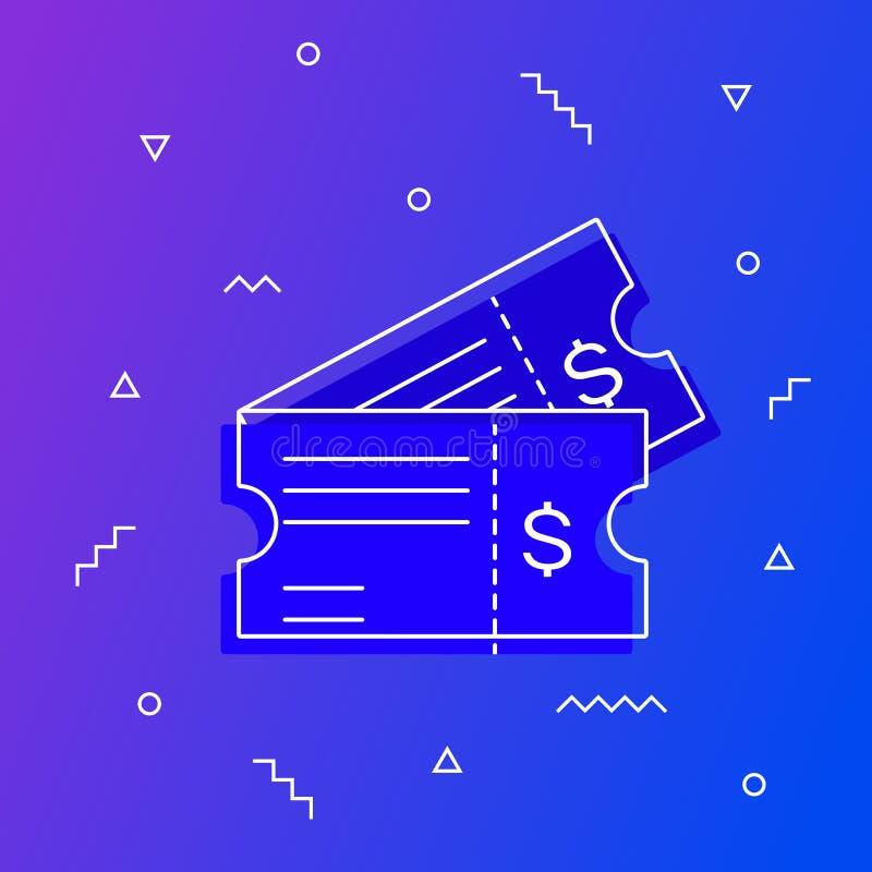 Снабдите иллюстрацию билетами вектора значка в плоском стиле изолированную на современной предпосылке градиента бесплатная иллюстрация