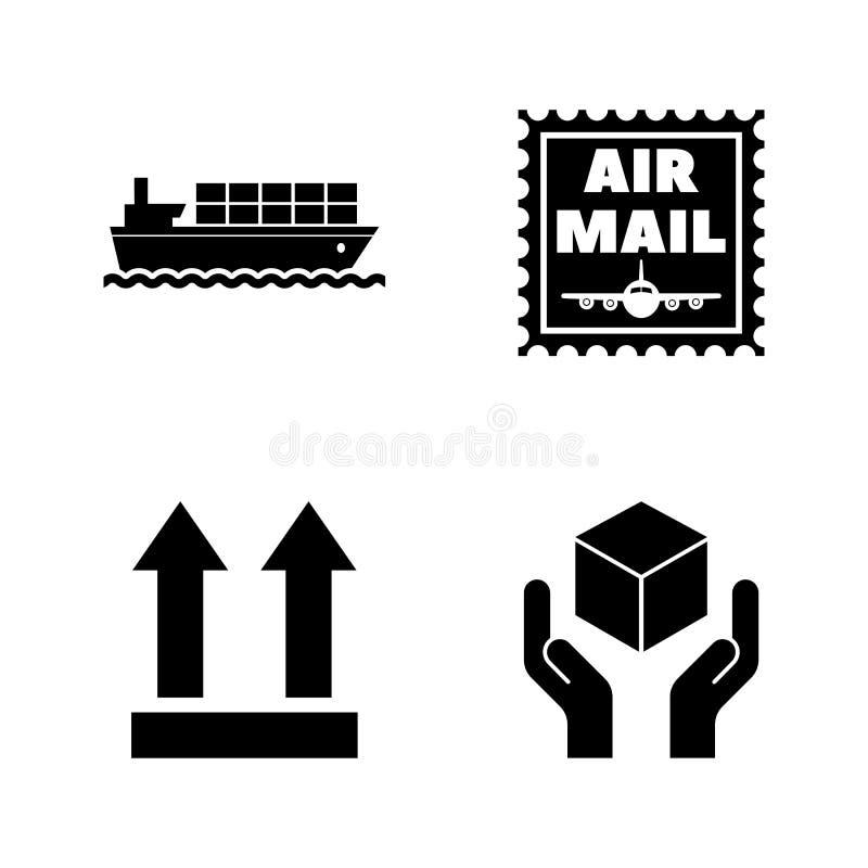Снабжение, доставка, доставка Простые родственные значки вектора иллюстрация вектора