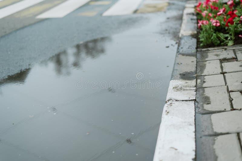 Снабжение жилищем на дорогах города Ямы и лужицы на тротуаре и пешеходном переходе Опадение на дороге стоковое фото