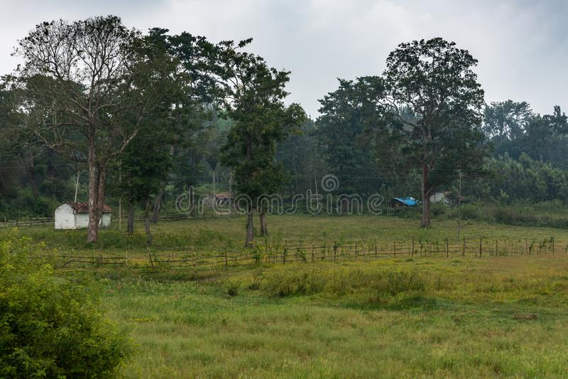 Снабжение жилищем на крае земли болота Ilapura, Karnataka, Индии стоковое фото