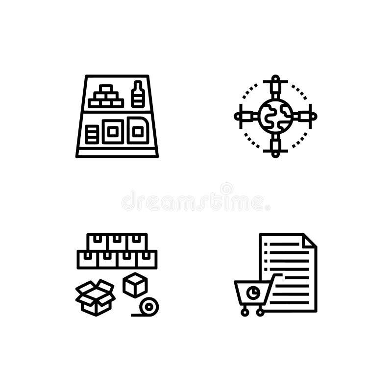 Снабжение, поставка, ходя по магазинам Установите формат вектора EPS 10 значка плана Черные профессионального пиксела совершенные бесплатная иллюстрация