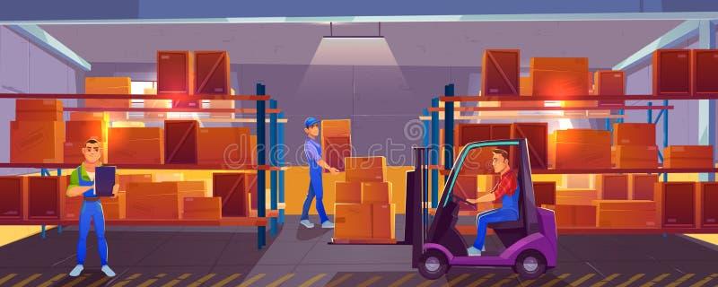 Снабжение, склад внутренний с работниками внутрь иллюстрация вектора