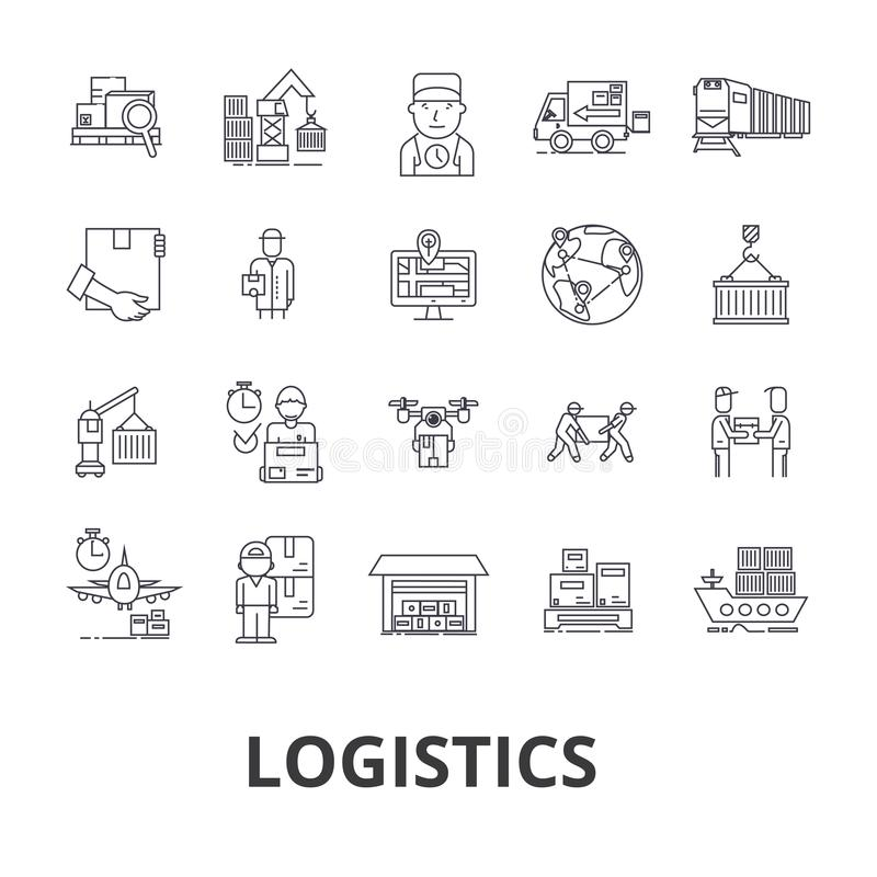 Снабжение, транспорт, склад, схема поставок, тележка, распределение, линия значки корабля Editable ходы Плоский дизайн иллюстрация вектора