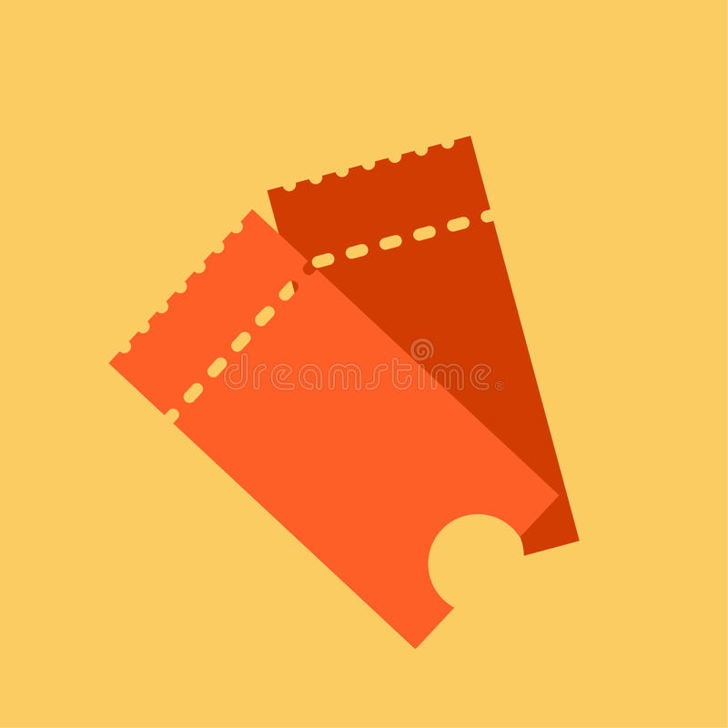 Снабдите иллюстрацию билетами вектора значка в плоском стиле Stub билета изолированный на предпосылке Ретро билеты кино или кино иллюстрация штока