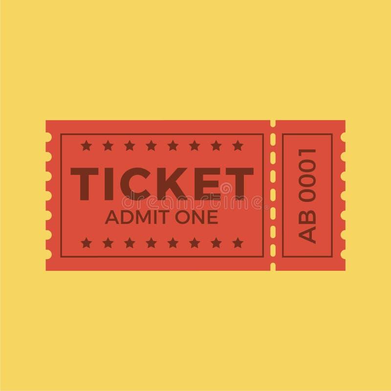 Снабдите иллюстрацию билетами вектора значка в плоском стиле Stub билета изолированный на предпосылке Ретро билеты кино или кино иллюстрация вектора