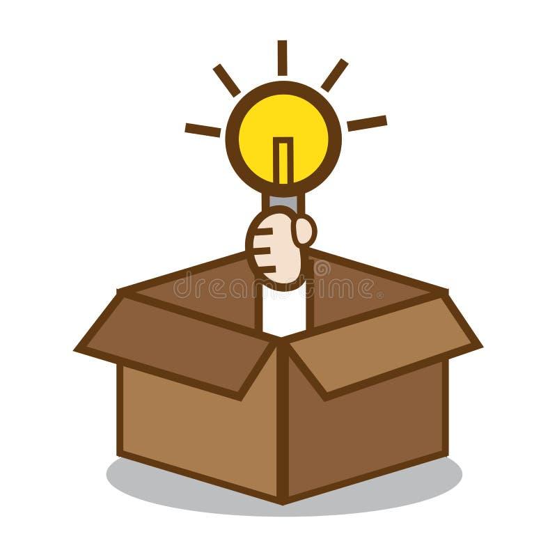 снаружи коробки думает иллюстрация вектора