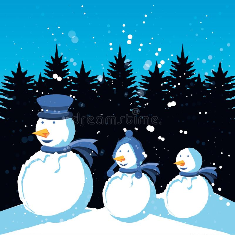 Снеговики группы с ландшафтом зимы рождества бесплатная иллюстрация