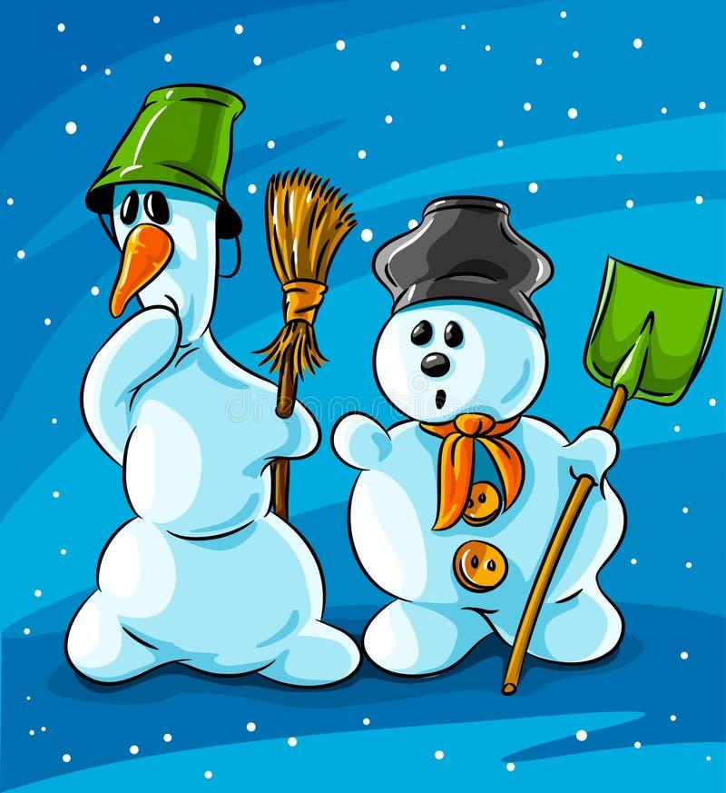 снеговики удивленные зима вектора иллюстрация вектора