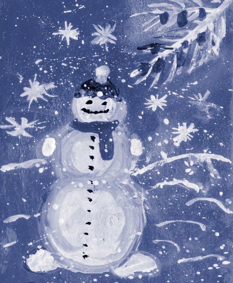 Снеговик, акварель Карточка бесплатная иллюстрация
