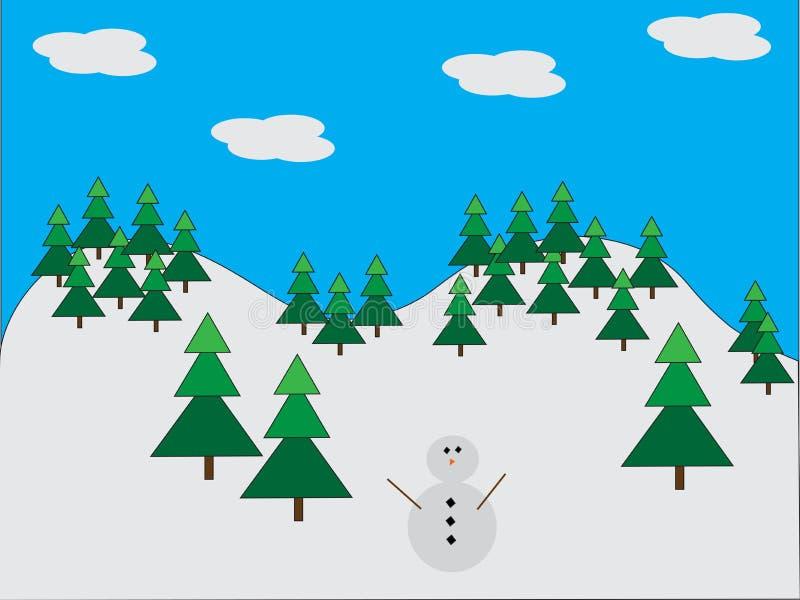 Снеговик в сосновом лесе иллюстрация вектора