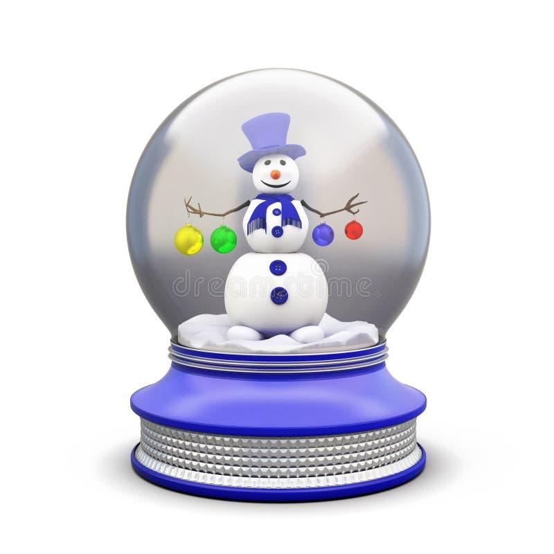 Снеговик в стеклянном шаре иллюстрация штока