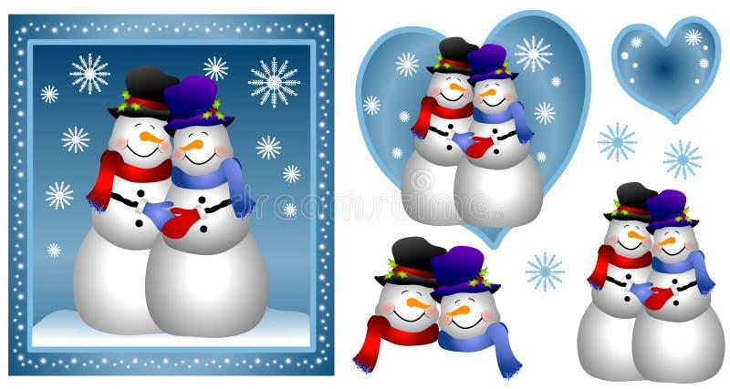 снеговик гомосексуалиста пар карточки бесплатная иллюстрация