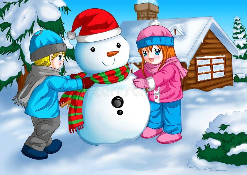снеговик детей иллюстрация вектора