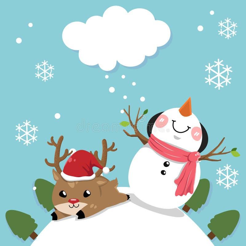 Снеговик и олени с небом ярким в Рождестве иллюстрация штока
