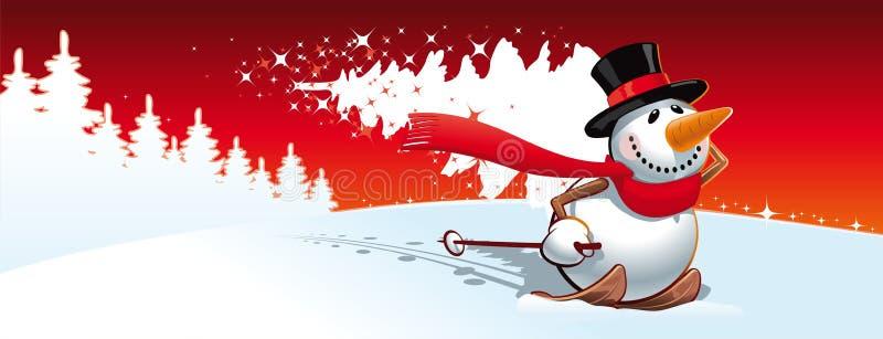 Снеговик и рождественская елка бесплатная иллюстрация