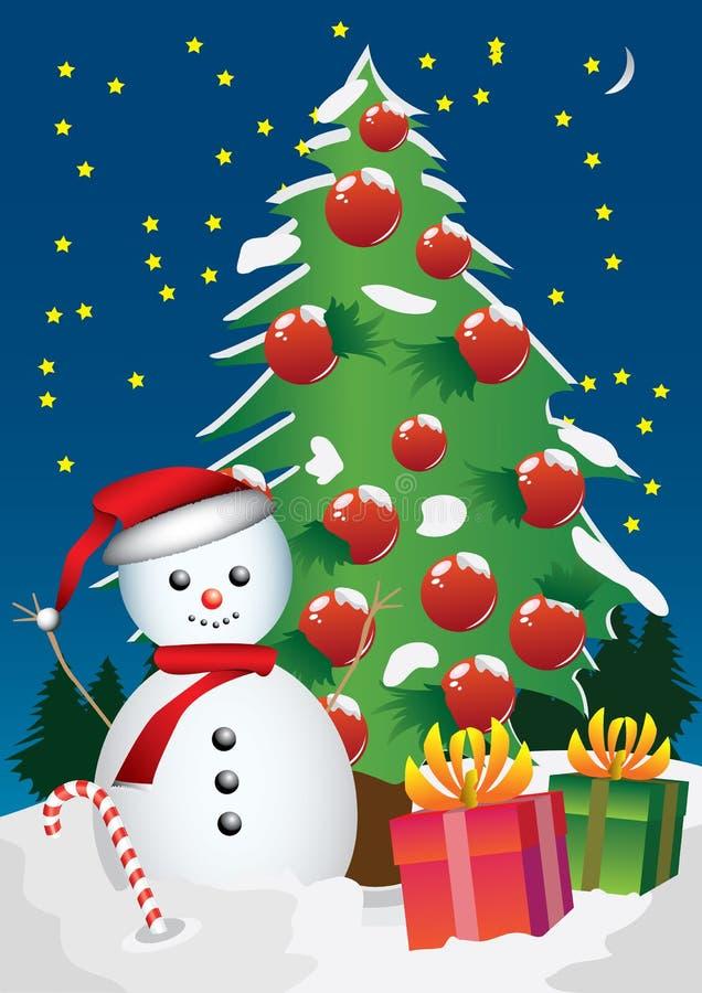 Снеговик и рождественская елка иллюстрация вектора