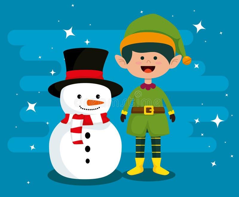Снеговик и эльф для того чтобы отпраздновать веселое рождество бесплатная иллюстрация