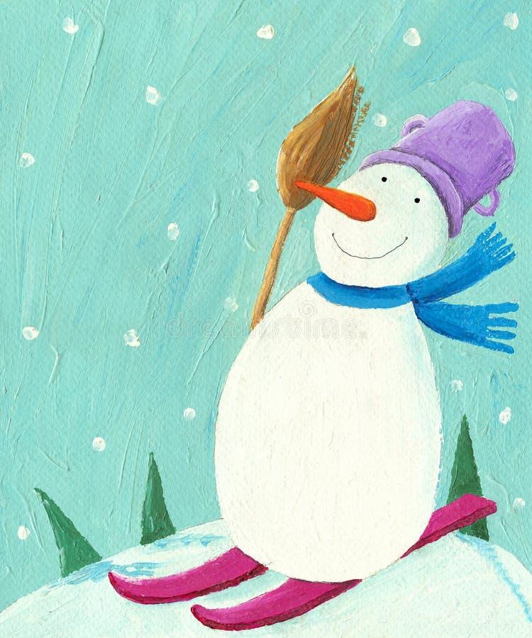 снеговик катания на лыжах иллюстрация вектора