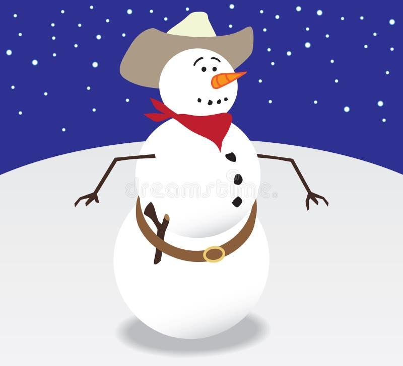 Снеговик ковбоя иллюстрация вектора