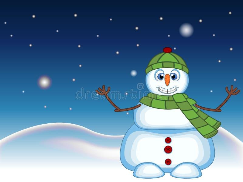 Снеговик нося зеленую шляпу и зеленый шарф развевая его рука с предпосылкой звезды, неба и холма снега для вашего дизайна vector  иллюстрация вектора
